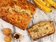 Бананов хляб / кекс / сладкиш с кисело мляко, орехи и мед